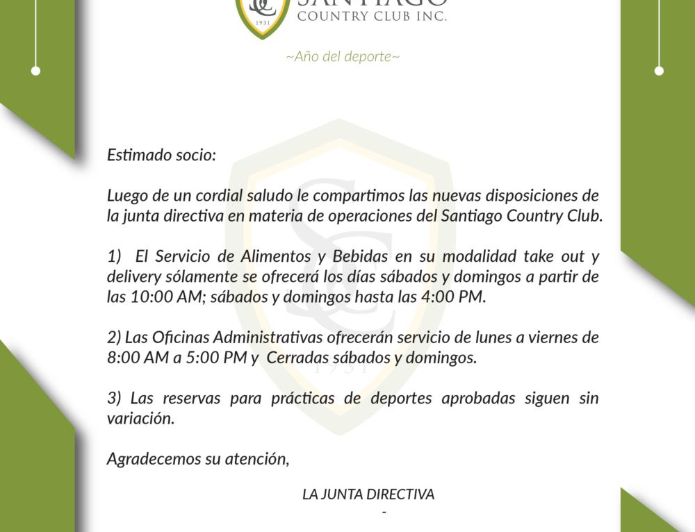 AVISOS NUEVAS DISPOSICIONES DE LA JUNTA DIRECTIVA