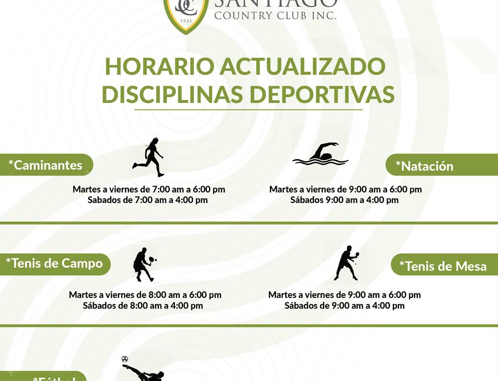 Horario Actualizado de Disciplinas Deportivas